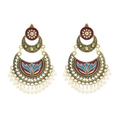 E-6236 Vintage Gold Indian Pearls Tassel Jhumka Drop Earrings for Women Boho Ethnic Festival Party Jewelry Gift
