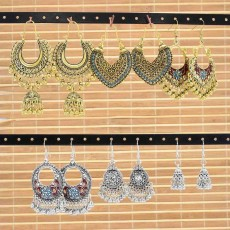 Vintage Gold Sliver Indian Bells Tassel Jhumka Drop Earrings for Women Boho Ethnic Festival Party Jewelry Gift Set