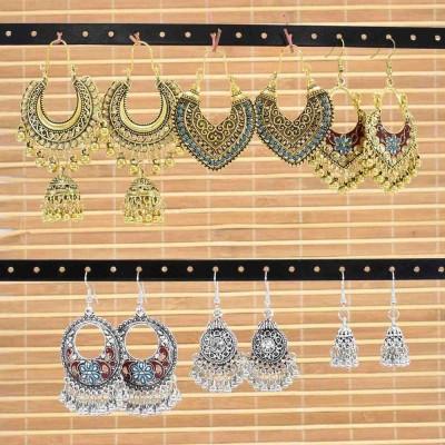 E-6238 Vintage Gold Sliver Indian Bells Tassel Jhumka Drop Earrings for Women Boho Ethnic Festival Party Jewelry Gift Set