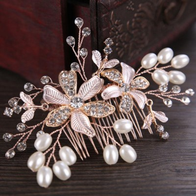 Silver rose gold flower crystal pearl comb hand-woven shiny bridal hair accessory