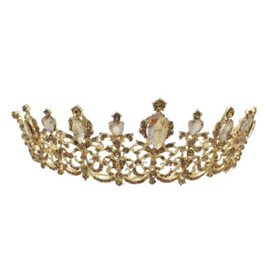 Luxury golden crystal crown bridal wedding hair accessories princess birthday party jewelry gift