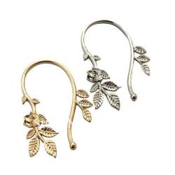 2pieces 2 colors  punk rock flower leaf ear cuff E-0578