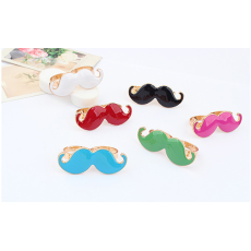 R-0186 New Fashion Gold Plated Metal Enamel Lovely Fat Mustache Double Fingers Ring