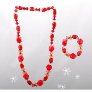 Vintage Style Fashion Colorful Acrylic Beads Bracelet Necklace Set N-0150