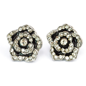 E-0691 New Korean Style Fashion Delicate Rhinestone Flower Alloy Stud Earrings