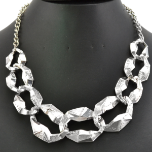 New Punk  Silver Plated Alloy Circles Chain Necklace N-1899