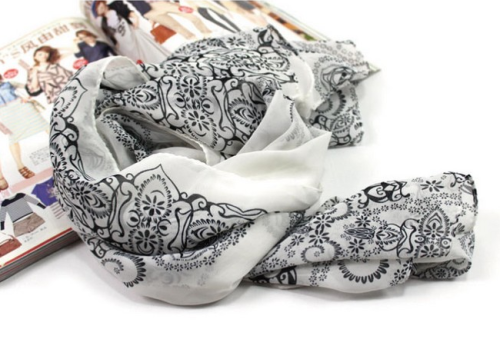 New blue and white porcelain vintage style  flower 4colors chiffon long scarf C-0044