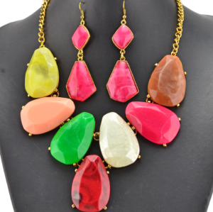 New European style gold plated  Alloy colorful resin geometry necklace earrings set N-3066