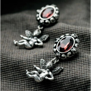 E-3244  European Style Vintage Silver plated Red Crystal Angle wing Dangle Earrings