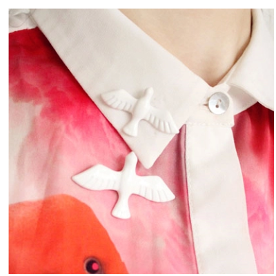 P-0136  New arrival exaggerated cute white paint peace dove metal pigeon brooch bird Collar Pin Brooch
