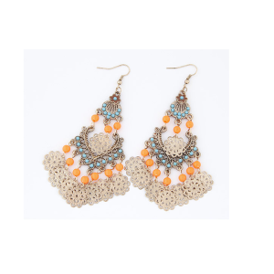 E-3294  Bohemian style colorful beads pendant earrings golden hollow out flower tassels dangle earrings
