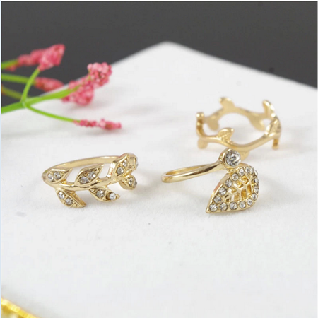 R-1163 2015 Korea fashion retro gold silver plated flower leaf leaves rhinestone crystal joint finger punk Ring set jewelry for women 3pcs/set