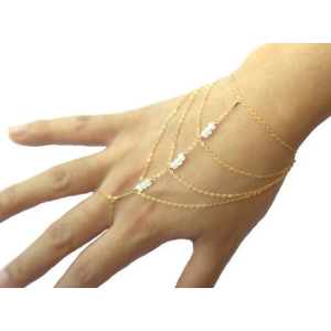 B-0467  Spring 2015 fashion gold plated multilayer chains beads slave bracelet jewelry for women