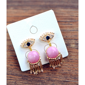 E-3484 Koea Style Gold Plated Alloy Blue Eyes Natural Pink Stone Double Side Dangle Earrings