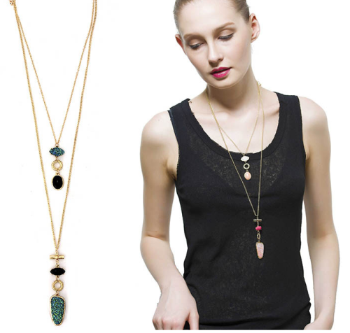 N-5716 New European Fashion Popular Multilayer Gold Plated Nature Stone Pendant  Long Chain Necklace