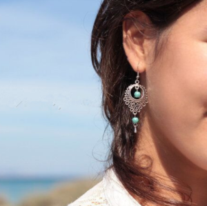 E-3594 Bohemian Style Vintage Silver Plated Ethnic    Hollow Out Turquoise Beads Dangle Earrings For Women
