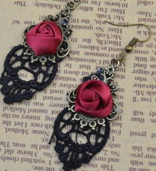 E-4057 2 Style Bohemian Vintage Brpnze Drop Earrings Diamante Flower Hook Dangle Earring Women Jewelry