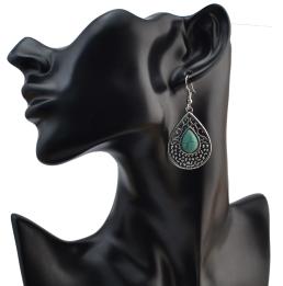 E-4075 Bohemian Silver Plated Drop Earrings Natural Turquoise  Hook Dangle Earring Women Jewelry
