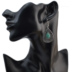 E-4075 Bohemian Silver Plated Drop Earrings Natural Turquoise  Hook Dangle Earring Women Jewelry