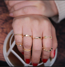 R-1437 Fashion Gold 6pcs/set 7pcs/set Vintage Joint Knuckle Nail Midi Ring Set Jewelry