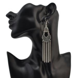 E-4108 Bohemian Vintage Silver Plated Long Drop Earring Women Party Flower Earrings Fashion Jewelry