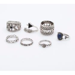 R-1449 7Pcs/Set Fashion Gypsy Vintage Silver Plated Turquoise Finger Ring Kncukle Rings For Women  Jewelry