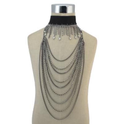 N-6843 Bohemian Fashion Gold Gun Black Jewelry Set Necklace And Choker Rhinestone Long Necklaces For Women Girls