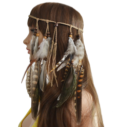 F-0411 Fashion Handmade Ethnic Gypsy Rope Brown Feather Hairbands Women Boho  Hairband Hair Accessory