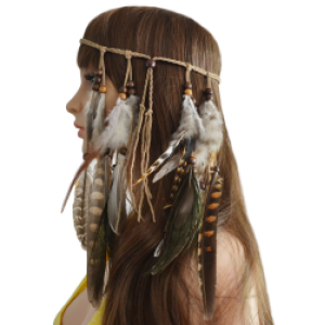 F-0411 Fashion Handmade Ethnic Gypsy Rope Brown Feather Hairbands Women Boho  Hairband Hair Accessory