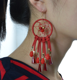 E-4123 5 Colors Bohemian Big Hooks Drop Earring With Tassel Punk Style