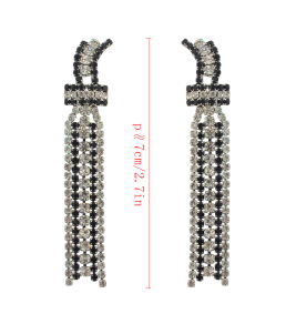 E-4127 Fashion Vintage Silver Plated Hook Turquoise Bead Chain Earring for Women Jewelry