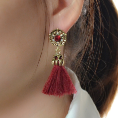 E-4130 3 Colors Vintage Antique Gold Rhinestone Plated  Fashion Long Tassel Feather  Drop Dangle Hook  Charm Earrings For Women Jewelry