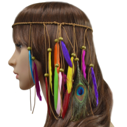F-0416 New Fashion Handmade Ethnic Tribal Gypsy Rope Wood Beads Colorful Feather Hairband Hair Clip Women Jewelry
