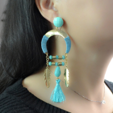 E-4143 4 Colors Vintage Antique Gold Plated  Fashion Long Tassel Feather  Drop Dangle Hook  Charm Earrings For Women Jewelry