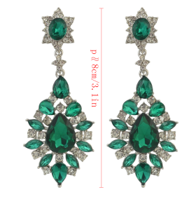 E-4145 4 Colors Fashion Trendy Women Italina Style Silver Plated Full Rhinestone crystal  Drop Dangle Earrings