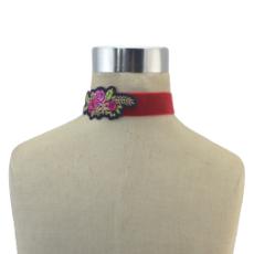 N-6860 4 Styles Boho Red Flower Thread Black Velvet Choker Necklaces For Women Party Jewelry Gift