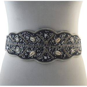 N-6865 2 Shapes Fashion PU leather European Style Black Plated Sexy Belt Waist for Women Bady Jewelry