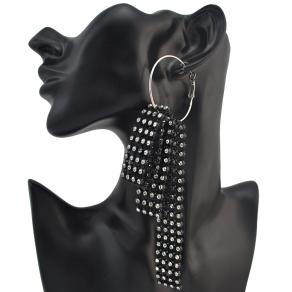 E-4152 4 Styles 2 Colors Black White Hook Circle Rhinestone Plastic Drop Earrings for Women Jewelry
