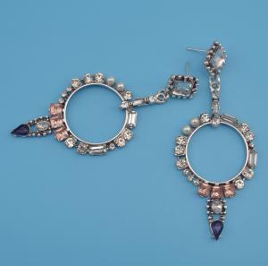 E-4153 Fashion Luxury Crystal Rhinestone Pearl Charm Drop Stud Earring for Women Jewelry