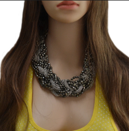 New  Fashion Multilayer Chains Beads Handmand Craft Knit Choker Necklace N-1877