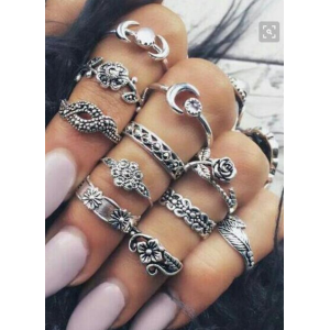 R-1455 11 Pcs/set Vintage Gypsy  Silver Gold Plated Crystal Ring Set for Women Jewelry