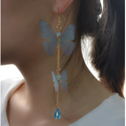 E-4164  New Arrived Blue Plastic Chain Gold Hook Butterfly Pendant Charm Ear For Women Earring  Jewelry