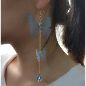 E-4164  New Arrived Blue Plastic Chain Gold Hook Butterfly Pendant Charm Ear For Women Earring  Jewelry