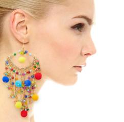 E-4167 Bohemian Round Tassel Beads Pendant Hook Earring for Women Jewelry