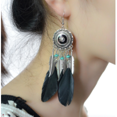 E-4176 5 Color Fashion Boho Long Feather Drop Earrings Gold Plated Tassel Party Dangle Earring Birthday Gift