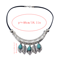 N-6888 New Fashion Green Stone Silver Plated Choker Necklace Leaves Shape Tassel Fashion Jewelry
