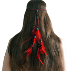 F-0445 Bohemian Handmade Feather Headbands Festival Hippie Headdress Red Hair Accessories Fashion Jewelry