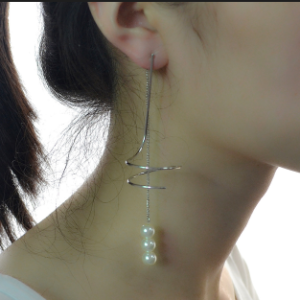 E-4189 Fashion Pearl Charm Long Drop Earring With Tassel For Women