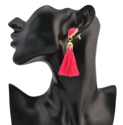 E-4200 3 Colors Fashion Bead Charm Drop Stud Tassel Earring for Women Jewelry