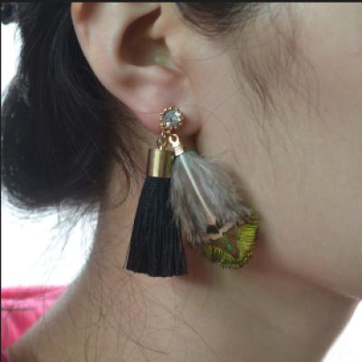 E-4206 Fashion Black Feather Long Tassel Charm Drop Stud Earring for Women Jewelry
